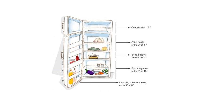 Rangement des aliments selon les zones de froid de votre frigo